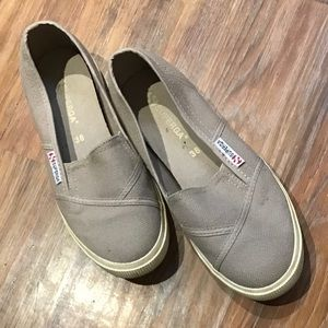Taupe canvas slip on shoes